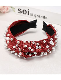 Fashion Red Wide-necked Nail Pearl Lafite Weaving Knotted Headband