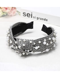 Fashion Gray Wide-necked Nail Pearl Lafite Weaving Knotted Headband