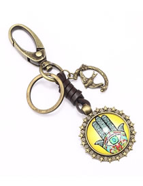 Fashion Bronze Palm Totem Alloy Leather Glass Keychain