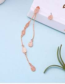 Fashion Rose Gold Alloy Asymmetric Drop Diamond Earrings
