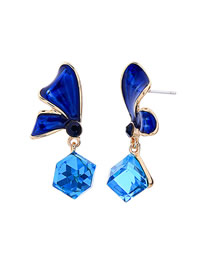 Fashion Blue S925 Silver Needle Drop Oil Bow Earrings
