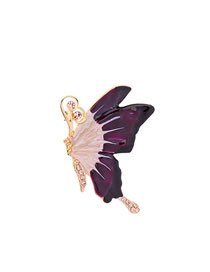 Fashion Purple Drop Glaze Butterfly Brooch