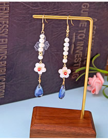 Fashion Water Drop Flower Natural Pearl Flower Earrings With Water Drops