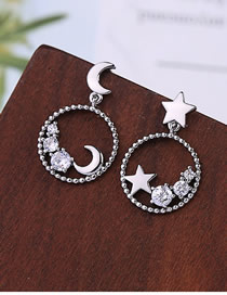 Fashion Silver S925 Silver Pin Stars Moon Niche Asymmetrical Big Ring Earrings