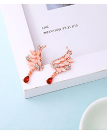 Fashion Red S925 Silver Pin Crystal Wings Drop Earrings