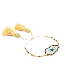 Fashion Eye Gold Millet Beads Woven Eye Bracelet