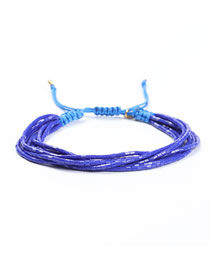 Fashion Blue Rice Beads Woven Eye Bracelet