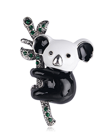Fashion Black Alloy Drip Koala Brooch