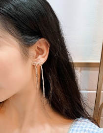 Fashion Main Color (tassel Earrings) Diamond Bow Tassel Earrings