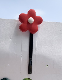 Fashion Red Flower Soft Pottery Hairpin