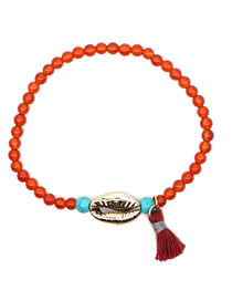Fashion Red 4mm Natural Stone Beaded Shell Fringed Woven Bracelet