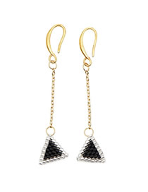 Fashion Gold Geometric Pattern Woven Rice Beads Earrings
