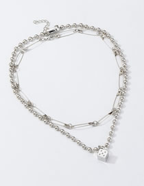 Fashion Silver Metal Square Necklace Pin