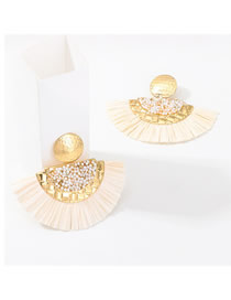 Fashion Beige Scalloped Lafite Alloy With Beads Earrings
