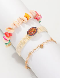 Fashion Color Silk Screen Shell Stone Woven Bracelet 3 Piece Set