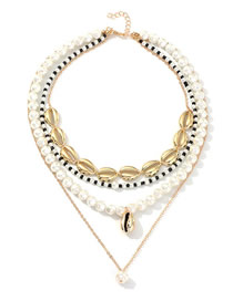 Fashion Gold Pearl Rice Pearl Alloy Shell Multi-layer Necklace