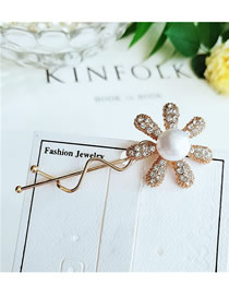 Fashion Sun Flower Yellow Diamond Bow Hair Clip