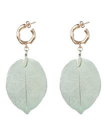 Fashion Green Leaf Flower Earrings