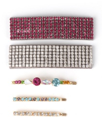 Fashion Color Crystal Diamond Hair Clip 4 Piece Set