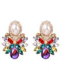 Fashion Color Diamond Glass Flower Earrings