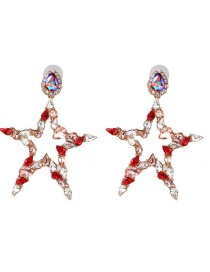 Fashion Color Pentagram With Stud Earrings
