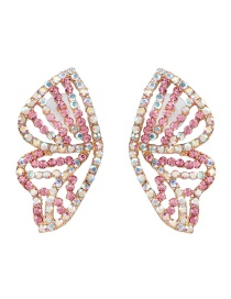 Fashion Pink Butterfly Wings And Diamond Earrings