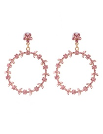 Fashion Pink Geometric Circle With Diamond Stud Earrings