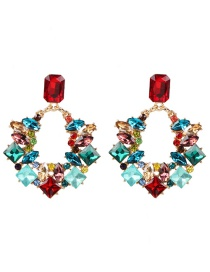 Fashion Color Glass Drill Flower With Diamond Stud Earrings