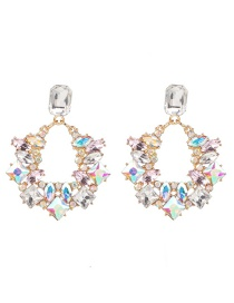 Fashion Ab Color Glass Drill Flower With Diamond Stud Earrings
