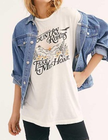 Fashion White Letter Print T-shirt Two-color