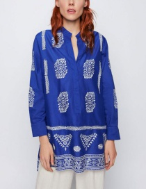 Fashion Royal Blue Contrast Embroidered Blouse