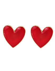 Fashion Red Alloy Drop Oil Love Stud Earrings