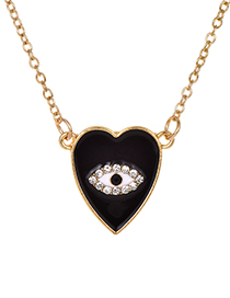 Fashion Black Alloy Diamond Love Eye Necklace