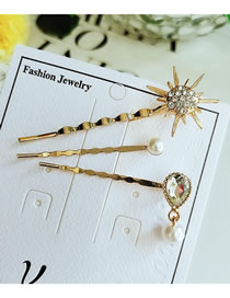 Fashion Yellow Alloy Pearl Hair Clip Three-piece
