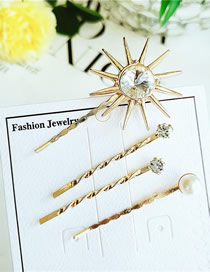 Fashion Yellow Flower Alloy Diamond Hair Clip Four-piece