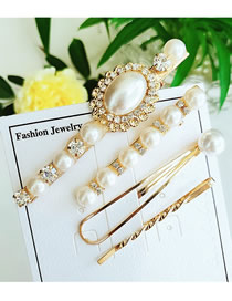 Fashion White Diamond-set Pearl Hair Clip Three-piece
