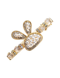 Fashion Rabbit Gold Alloy Crystal Cartoon Hair Clip