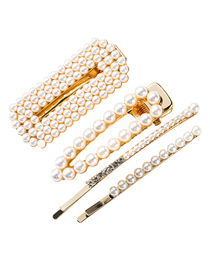 Fashion Gold Pearl Hair Clip Four-piece