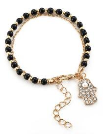 Fashion Black Crystal Beaded Palm Chain Bracelet