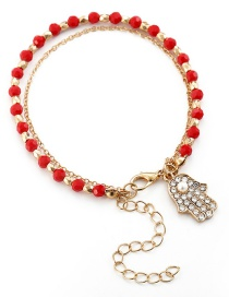 Fashion Red Crystal Beaded Palm Chain Bracelet