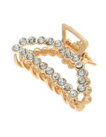 Fashion Curved Full Diamond Diamond Geometric Alloy Diamond Pearl Grip Trumpet