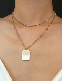 Fashion Gold Geometric Double-layered Square Necklace