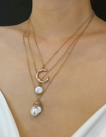 Fashion Gold Multi-layer Geometric C-letter Shaped Pearl Necklace