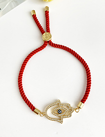 Fashion Red Copper Inlaid Zircon Braided Rope Hollow Palm Eyes Bracelet