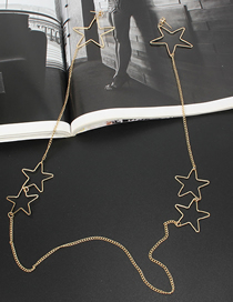 Fashion Gold Hanging Neck Five-pointed Star Tassel Earrings Necklace Integrated
