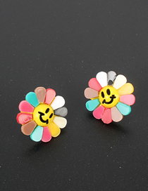 Fashion Color Sunflower Flower Silver Needle Smiley Earrings