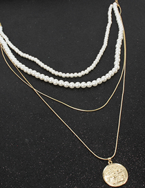 Fashion Gold Metal Snake Chain Imitation Pearl Necklace