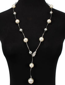 Fashion Gray Diamond-like Pearl Necklace