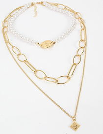 Fashion Gold Plated Gold Multi-layer Imitation Pearl Necklace