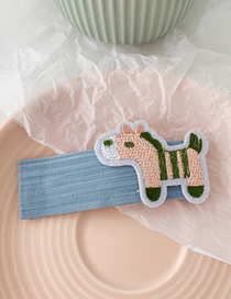 Fashion Blue-trojan Cartoon Embroidered Fabric Hair Clip